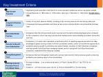 key investment criteria