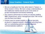 value creation coland style