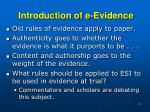introduction of e evidence