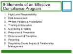 9 elements of an effective compliance program