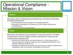 operational compliance mission vision