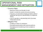 operational risk management and mitigation