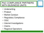 p c compliance partners with business units