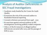 analysis of auditor deficiencies in sec fraud investigations