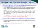 best practices narrative descriptions con t