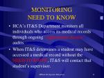 monitoring need to know