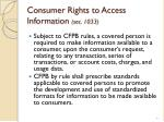 consumer rights to access information sec 1033