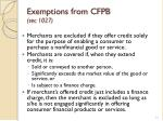 exemptions from cfpb sec 1027