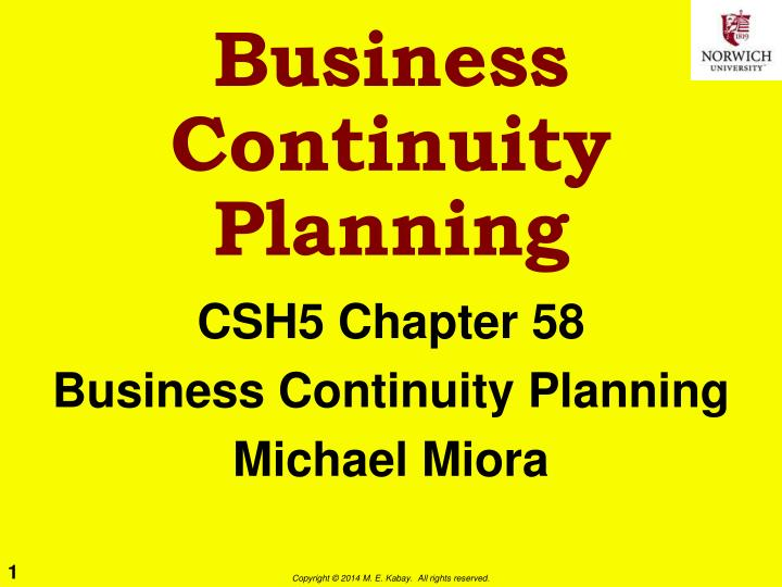 business continuity planning n.