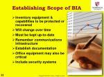 establishing scope of bia