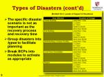 types of disasters cont d