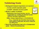 validating goals