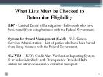 what lists must be checked to determine eligibility