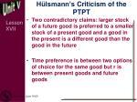 h lsmann s criticism of the ptpt