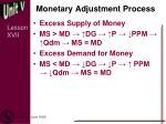 monetary adjustment process