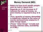 money demand md