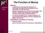 the function of money