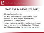 dfars 252 245 7005 feb 2012