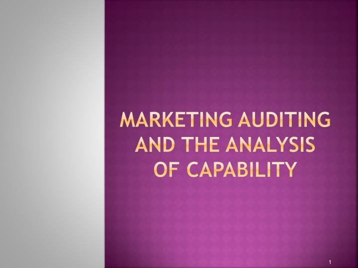 marketing auditing and the analysis of capability n.