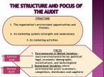 the structure and focus of the audit