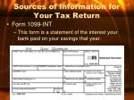 sources of information for your tax return1