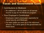 taxes and government cont