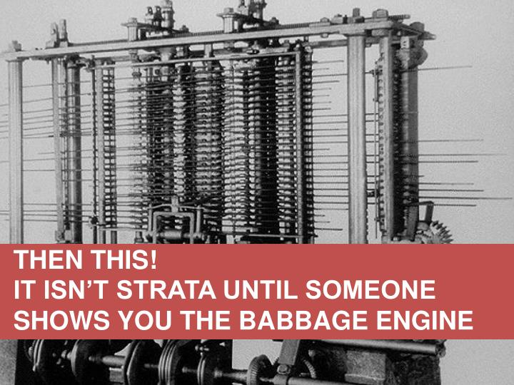 IT ISN'T STRATA UNTIL SOMEONE SHOWS YOU THE BABBAGE ENGINE