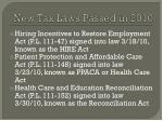 new tax laws passed in 2010