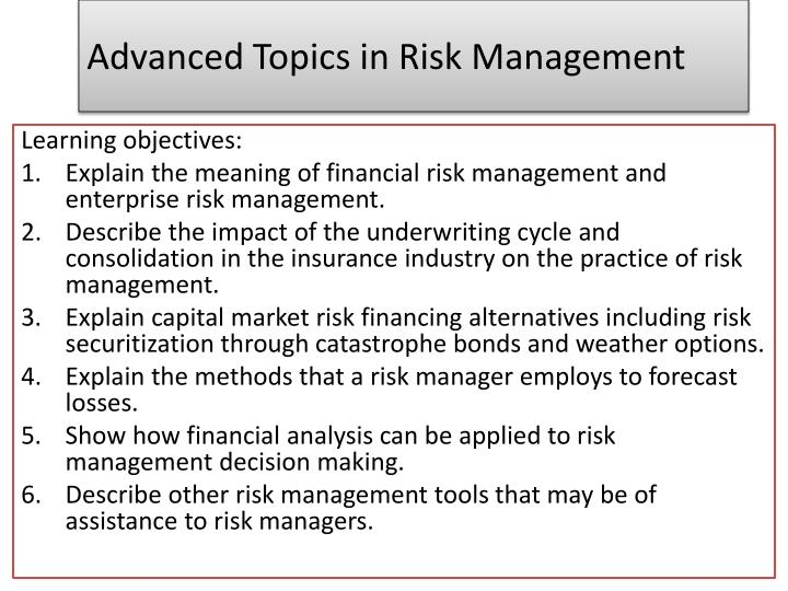 advanced topics in risk management n.