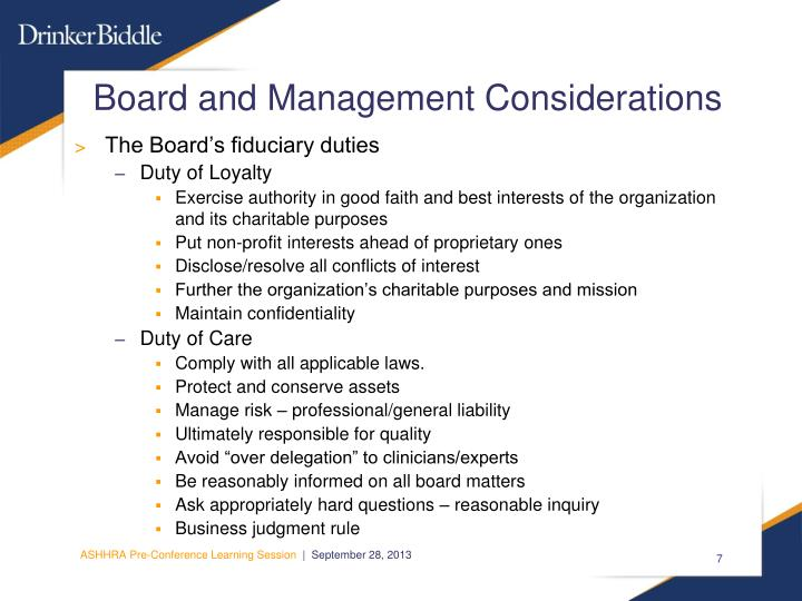 Board and Management Considerations