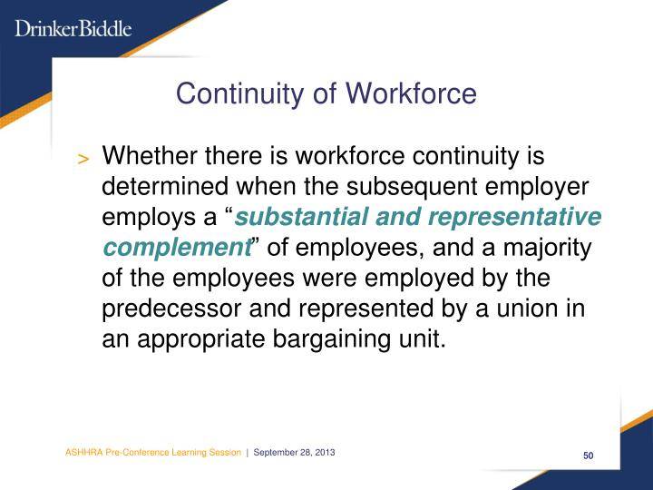 Continuity of Workforce
