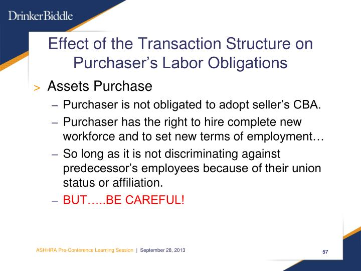 Effect of the Transaction Structure on Purchaser's Labor Obligations