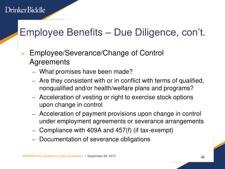 Employee Benefits – Due Diligence, con't.
