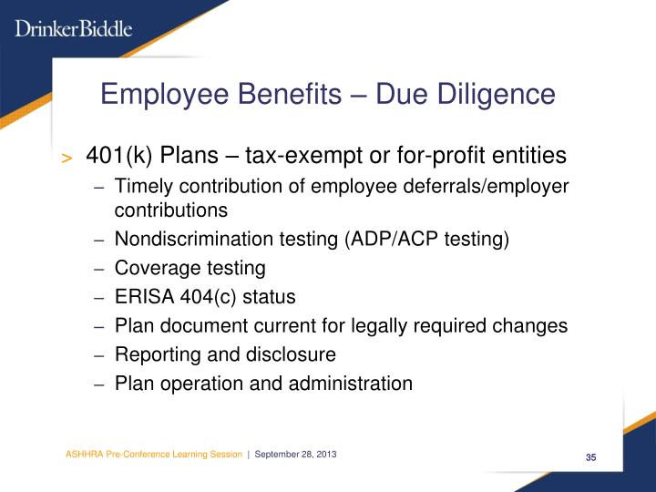 Employee Benefits – Due Diligence