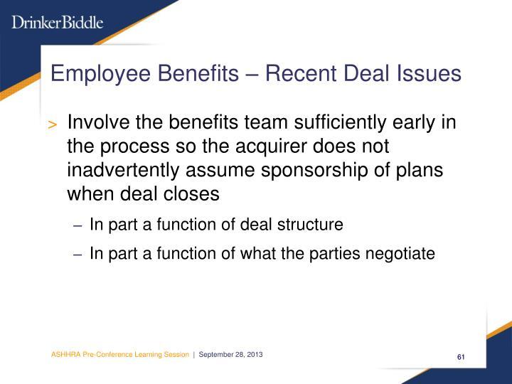 Employee Benefits – Recent Deal Issues