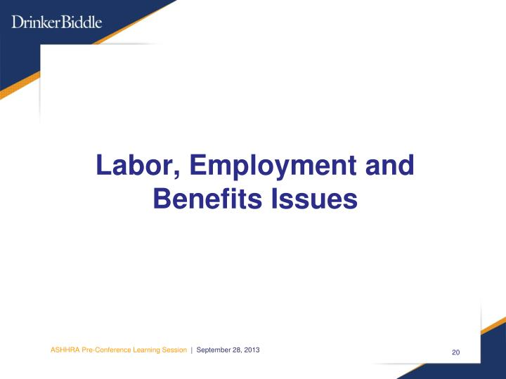 Labor, Employment and Benefits Issues