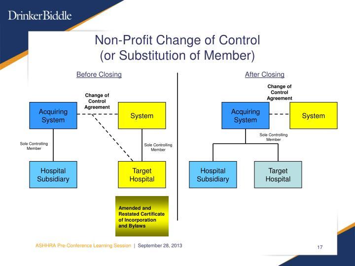 Non-Profit Change of Control