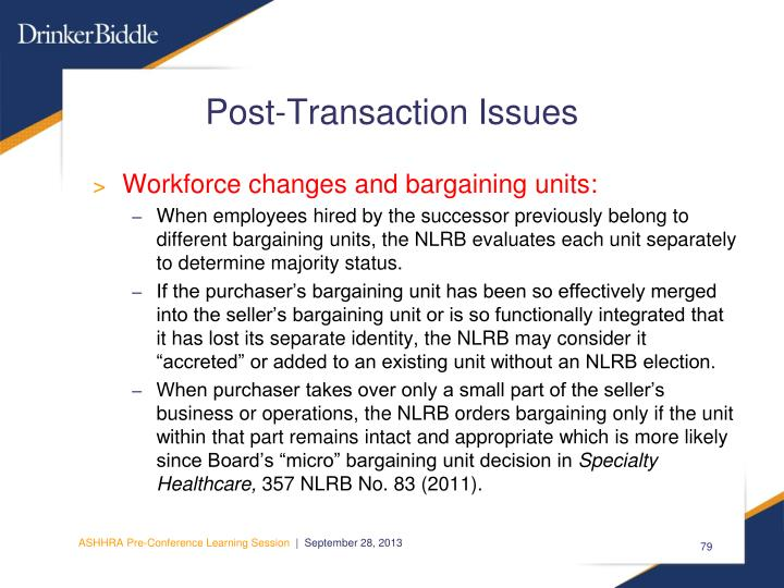 Post-Transaction Issues