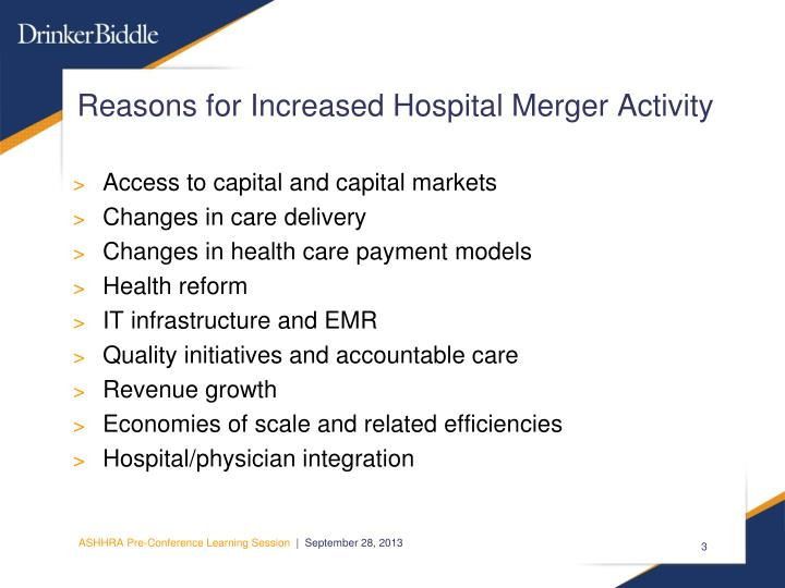 Reasons for increased hospital merger activity