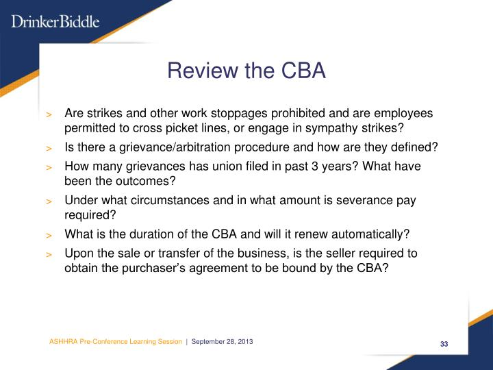 Review the CBA