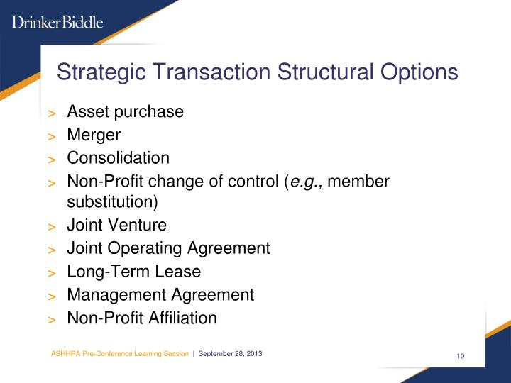 Strategic Transaction Structural Options