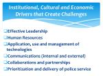 institutional cultural and economic d rivers that create challenges