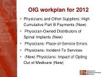 oig workplan for 20121