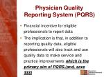 physician quality reporting system pqrs1
