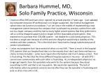 barbara hummel md solo family practice wisconsin