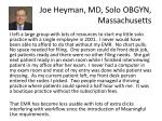 joe heyman md solo obgyn massachusetts