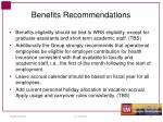 benefits recommendations