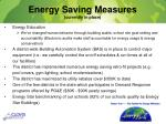energy saving measures currently in place