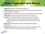 solar preparation and history