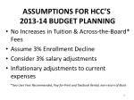 assumptions for hcc s 2013 14 budget planning